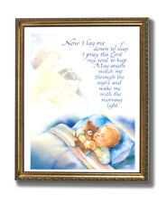 Boy Bed Prayer Religious Kids Room Wall Picture Gold Framed Art Print