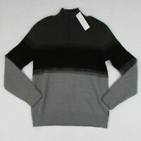 New Men's Calvin Klein Sweater 1/4 Zip Gunmetal Hthr Gray & Black Size Large