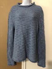 JUST CAVALLI Sz L Blue Chunky Cable Knit Wool Alpaca Blend Mock Neck Sweater