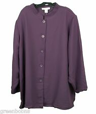 New Silhouettes Woman Amethyst Mandarin Collar Button-up Jacket Size 38W (6X)