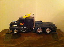 vintage 1999 Mattel Hot Wheels tractor trailer truck cab Plastic Black Yellow