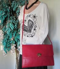 FURLA.Shoulder Bag Pouch.Cross body.Clutch.Genuine leather.Red.Authentic.Italy.