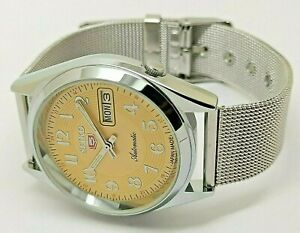 seiko 5 yellow dial automatic men's steel day/date japan watch working