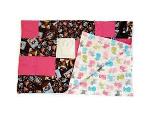 Handmade Baby Quilt Blanket Reversible Unique Multicolor Coffee Cups Cat Kittens