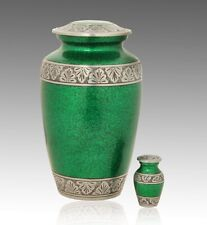 Royal Green with Pewter Band Cremation Urn, Adult Urn, Handcrafted!