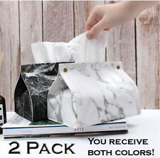 Decorative faux marble tissue box cover pack of 2