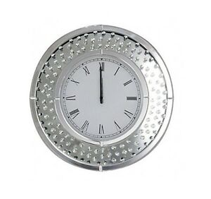 Floating Crystals Bevelled Mirror Glass Round Wall Clock 50cmX50cm Silver