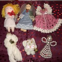 Lot of 6 Vintage Angel Christmas Ornaments Crochet Dress Pearl Soft Cat Angel