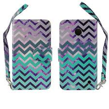 Purple & Teal Chevron Design Wallet Leather Case for Nokia Lumia 630 635