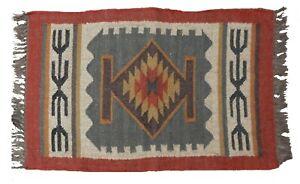 2x3' Handwoven Area Rug Wool Jute Carpet Kilim Dhurri Vintage Floor Rug Yoga Mat
