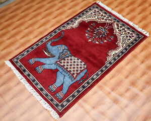 Silk 60x90 Hand-Knotted Oriental Rug Wall Decor 2'x3' Red Color Elephint Design