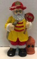 Ceramic Fireman Santa Claus Figurine Christmas Fire Hose Hydrant Vintage