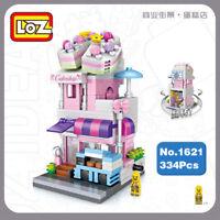 LOZ Blocksteine Gebäude Street Pink Cake Shop Store Mini Geschenk DIY Spielzeug
