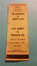 """RARE 1930-50s """"CITY CANDY & TOBACCO CO"""" LOS ANGELES MATCH BOOK COVER ADVERTISING"""