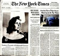 Elizabeth Taylor Newspaper New York Times Tribute 2011 MT Liz Cleopatra Photo