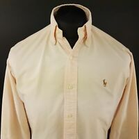 Polo Ralph Lauren Mens Vintage THICK Oxford Shirt 14.5 (SMALL) Long Sleeve Peach