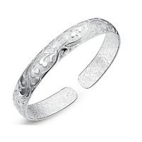 Elegant Charm Women 925 Silver Plated Carved Flower Bangle Cuff Bracelet Jewelry