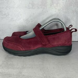 LL Bean Women's Comfort Mocs Wool Mary Jane Shoes Size 8M Red Burgundy
