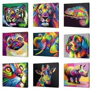 ANIMALS POP ART COLLECTION CANVAS PRINT PICTURE WALL ART FREE FAST DELIVERY