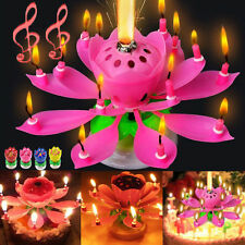 8 Candles Rotating Musical Lotus Flower Candles Birthday Cake Topper Gift Light
