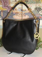 MICHAEL KORS STANTHORPE LARGE SHOULDER HOBO BAG BLACK LEATHER GOLD $398 NEW