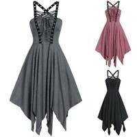 Gothic Women Dress Steampunk Lace Up Strap Corset Retro Medieval Party Dresses