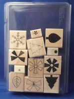 SHAPES & SHADOWS two step 12pc Set - Stampin' Up Wood Rubber Stamp in Case SALE