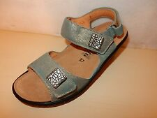 MEPHISTO MOBILS Maryse Womens Ladies Shimmery Blue Leather sandals 7 / 37 NEW
