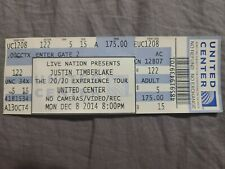 Justin Timberlake Ticket Stub 20/20 Experience December 8, 2014 Chicago