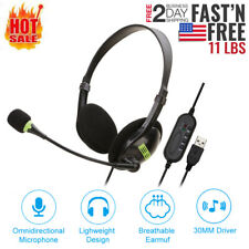 USB Headset with Microphone Noise Cancelling Computer PC Headset Lightweight