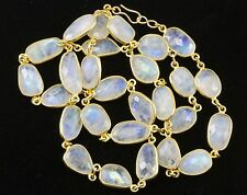 Blue Moonstone Necklace Rainbow Faceted Bezel Large Chain 14k gold fill 24 Inch