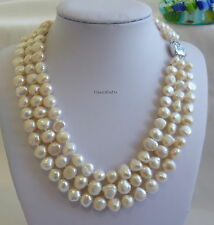 Silver 8-9 mm baroque culturered freshwater pearls 3-strand necklaces L43cm