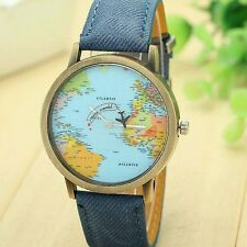 Hot Newly Design Mini World Map Watch Men Women Gift Watch