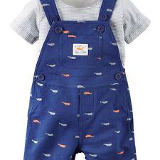 NEW NWT Carter's Boy 2 Piece Striped Shortall Set 121g348, Gray, Blue New Born