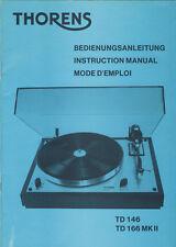 Original mode d'emploi thorens td 146 166 MK II