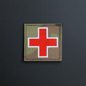IFAK Red Cross EMT Paramedic EMS Reflective Multicam OCP Patch - Hook & Loop