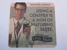 Beer Brewery COASTER ~ OLDE MAIN Brewing Co ~ Ames, IOWA Institute of Brewology