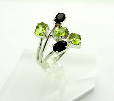 Estate 925 Sterling Silver Peridot & Black Onyx Cluster Ring size 7.5