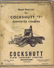 "Repair Parts List Cockshutt ""7"" Harvester Combine, Vintage 1950's"