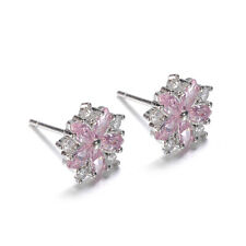 Cute 925 Silver Pink Topaz Cross CZ Sakura Flower Stud Earring Wedding Jewelry