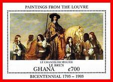 GHANA 1993 PAINTINGS S/S MNH / unmounted / fresh / neuf  HORSES, COSTUMES