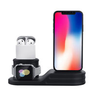 3 in1 Wireless Fast Charger Dock Stand For Apple Watch Air-pods iPhone X Xs
