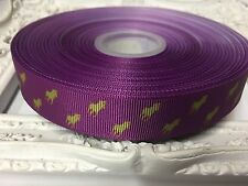 1 Metre Horse Print Polo Grosgrain Ribbon Designer 22mm Cakes Bow Dummy Purple