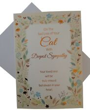 850 Single Cat Sympathy Card - On the sad Loss of your Cat Yellow (Size G)