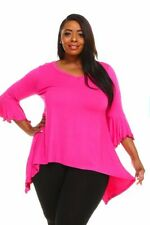 Womens Size 4X PINK Sharkbite Bell Sleeves Asym Top WearOrGoBare
