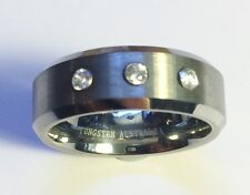 "Stunning Pure Tungsten Men's Dress/Wedding Ring ""Tripple CZ"" Size 11 (T023)"