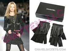 CHANEL Collector's Rare Black Leather Chain Fingerless GLOVES 7 - 7.5* AUTHENTIC