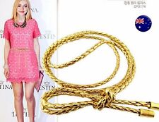 Women Narrow Skinny Slim Gold  Synthetic Leather Braided Waist band Belt