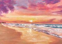 ORIGINAL Beach Sunset Painting  - British Handmade Art Original Presale