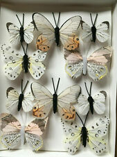Feather Butterflies - White/Ivory Authentic Style - Set of 10